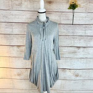 Philosophy Gray Drapped Pocket Petite Dress